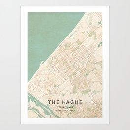 The Hague, Netherlands - Vintage Map Art Print