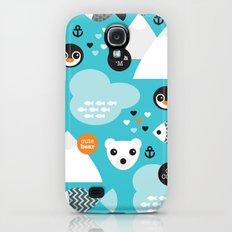 Cute winter wonderland penguin and white bear pattern Slim Case Galaxy S4