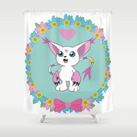 digimon Shower Curtains featuring Girly Gatomon by hannahroset