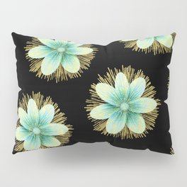 Blue & Gold Flowers On Black Pillow Sham