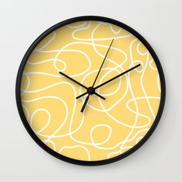 Doodle Line Art | White Lines on Custard Yellow Wall Clock