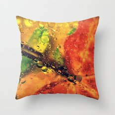 Wet Red Maple Throw Pillow