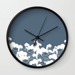 Blue Japanesse Wave Wall Clock