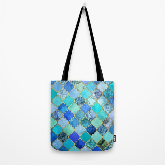 Cobalt Blue Aqua Gold Decorative Moroccan Tile Pattern Tote Bag By Micklyn Society6