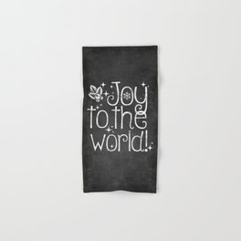 Joy to the world chalkboard christmas lettering Hand & Bath Towel