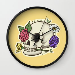 Flowery Skull Wall Clock