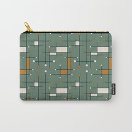 Intersecting Lines in Sage Green and Orange Carry-All Pouch