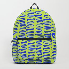 Green and Blue Squiggle Pattern Backpack
