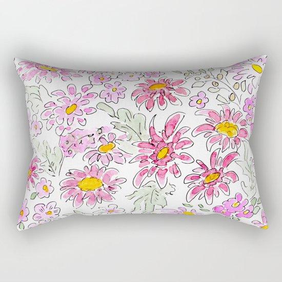Watercolor . Summer flowers . Rectangular Pillow