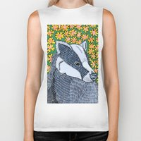 badger Biker Tanks featuring Badger Badger Badger by Lorraine Stylianou