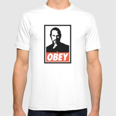 Obey Steve Jobs White Mens Fitted Tee X-LARGE