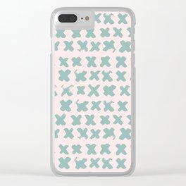 Contemporary X Paint Cross stich Pink Mint Pattern Clear iPhone Case