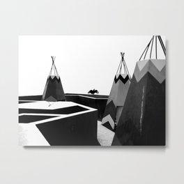 Cabins in BW Metal Print