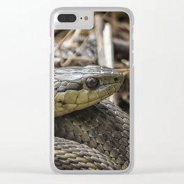 Garter Snake Portrait Clear iPhone Case
