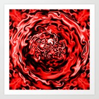 Red Swirl Topography Art Print
