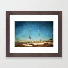 Sail Boats on the Beach Framed Art Print