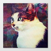 80s Canvas Prints featuring 80s Cat by Bunhugger Design