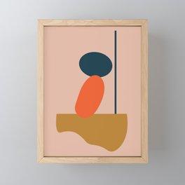Abstract #1 Orange Blue Beige Framed Mini Art Print