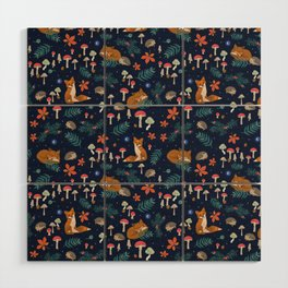 Fox and Hedgehog in Toadstool Woods In Blue Wood Wall Art