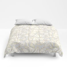 Paper Airplanes Faux Gold on Grey Comforters