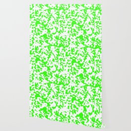 Spots - White and Neon Green Wallpaper