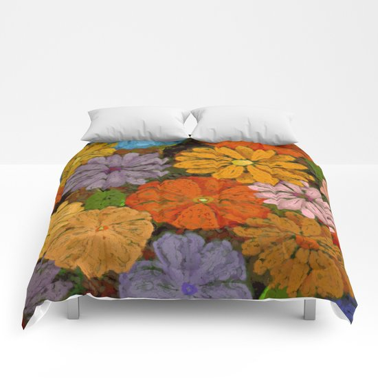 Abstract #422 Flower Power #7 Comforters