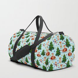 Blue Christmas - From Corgis, Santa And Christmas Trees Duffle Bag
