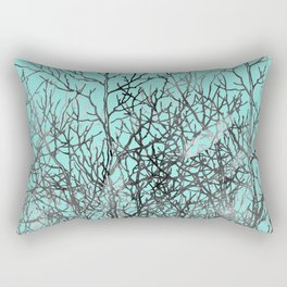 Hand painted teal black gray watercolor trees Rectangular Pillow