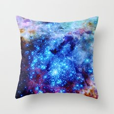 galaxy blue sparkle Throw Pillow