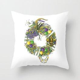 Mardi Gras Wreath Throw Pillow