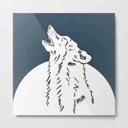 Pra Loup Howling Wolf Metal Print