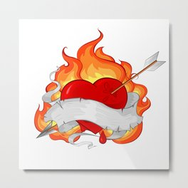 Conflagrant Heart with a Ribbon Metal Print