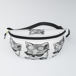 Playful Fox in Retro glasses Fanny Pack