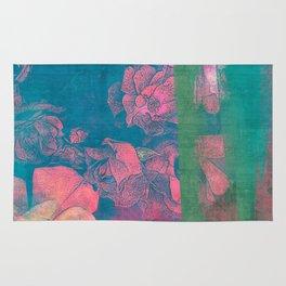 Rose Garden Blue 5- Texture Rose Study in red emerald green scarlet indigo watercolor wash Rug
