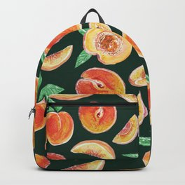 Peaches Slices party in my garden_ Hand Painted modern watercolour & ink Backpack