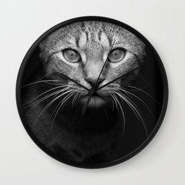 cat katz black white 4 Wall Clock