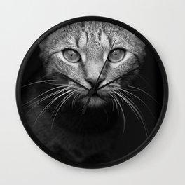 cat katz black white 4 Wall Clock