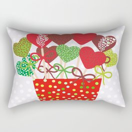 Christmas design Cake pops set with bow gray background with snowflakes. Rectangular Pillow