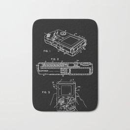 Nintendo Gameboy Patent - White on Black Bath Mat