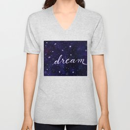 Watercolor galaxy dream - dark blue Unisex V-Neck