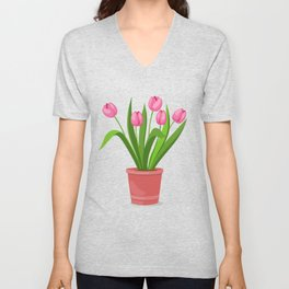 pink tulips in the pot Unisex V-Neck