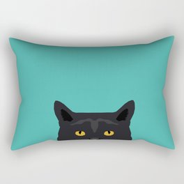 Cat head black cat peeking gifts for cat lovers pet portraits Rectangular Pillow