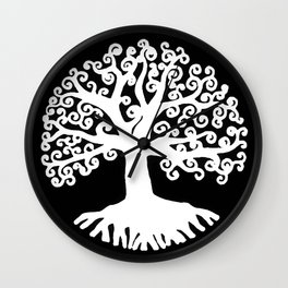 black and white abstract tree of life II Wall Clock