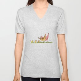 Fun on the Farm: Mother Hens Unisex V-Neck