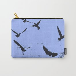 Silhouette Of A Flock Of Seagulls Over Water Vector Carry-All Pouch