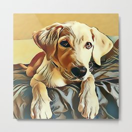 Yellow Labrador Retriever Puppy Metal Print