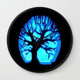 Happy HaLLoWeen Brain Tree Blue Wall Clock