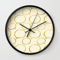 gold foil Wall Clocks featuring Cream Gold Foil 01 by Aloke Design