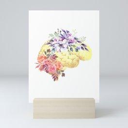 Floral Human Brain Anatomy  Mini Art Print