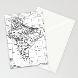 Vintage Map of India (1823) BW Stationery Cards
